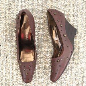 Pazzo Vintage Brown Studded Wedged Leather Heel